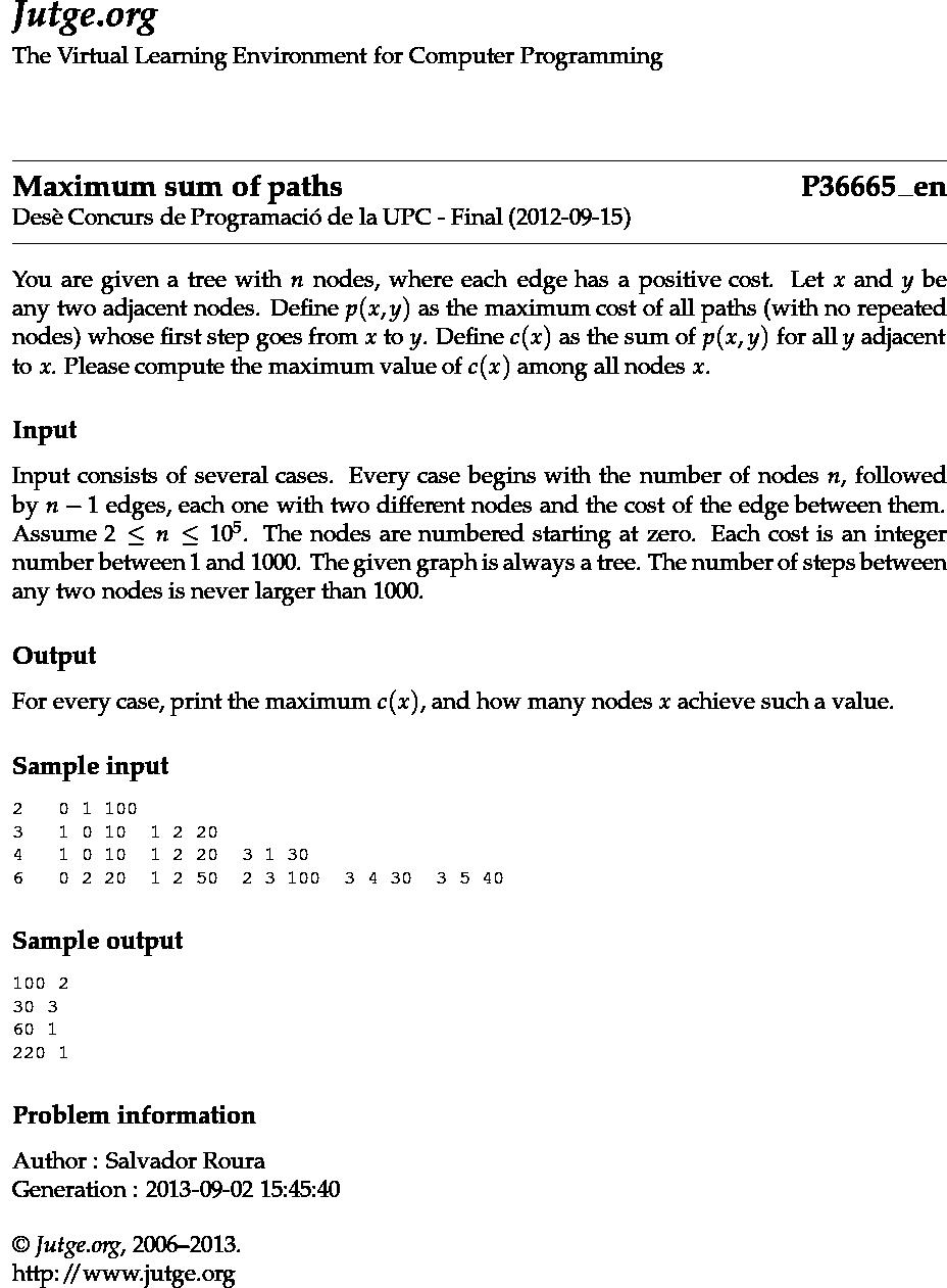Jutge org - P36665_en - Maximum sum of paths